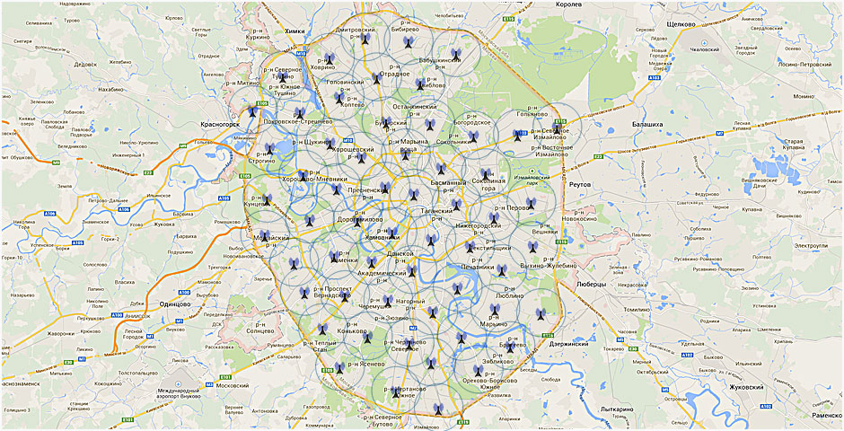 более 50 базовых станций.
